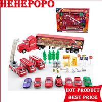 Puzzle Brinquedo das crianças Red Liga Modelo Do Motor de Fogo Material ABS Brinquedos de Plástico Caminhão de Bombeiros Do Carro Requintado Pacote de Presente Para crianças