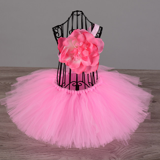 Hot Pink Newborn Baby Birthday Party Tutu Skirt Lovely Infant Toddler Fluffy Tulle Ballet Skirts For Infantile Dance Wear