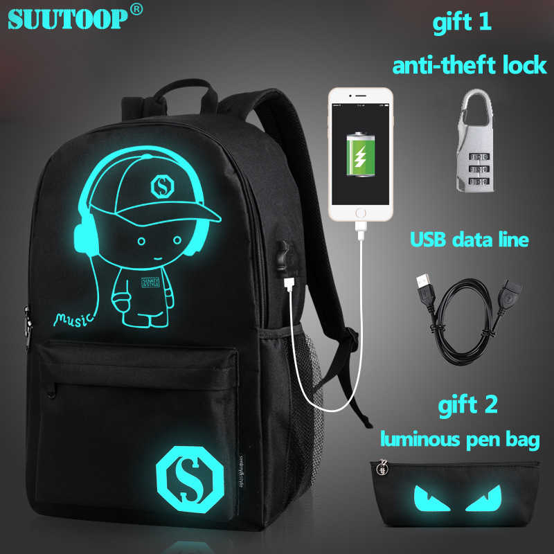 USB Charge music luminous 2019 new unisex schoolbag For teenage teenagers backpack to school bag Student book bag for boys girls