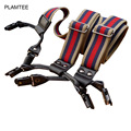 6 Clip Genuine Leather Elastic Adult Suspenders Mens Womens Fashion Striped Adjustable Bretelles Unisexe 2017 New Rivet Jartiyer