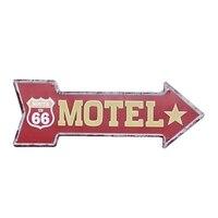 Мотель ROUTE US 66 металлическая жестяная вывеска винтажная неправильная Настенная Наклейка Арт-бар украшение для паба домашний декор стрела