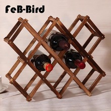Luxury Wood Folding Wine Racks Foldable Stand Wooden Holder 10 Drink Bottles Kitchen Bar Display Shelf