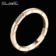 Double Fair Slim OL Style Cubic Zirconia Engagement Rings Rose Gold Color Fashion Brand Jewelry For Women HotSale Anel DFR493(China)