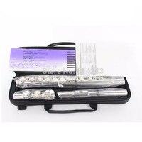 Профессиональный cupronicel 16 C отверстие для ключа открытая Посеребренная флейта Музыкальные инструменты Флейта с чехлом и аксессуарами