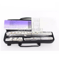Professional Cupronickel 16 C Key Hole Opened Flute Silver Plated Musical Instruments Flute With Case and Accessories
