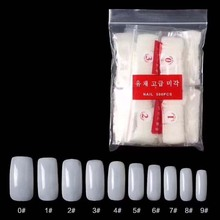 500 Pcs/Bag Transparent/Natural Artificial False Nails Full Cover French Manicure Nail Art Tips Free Shipping