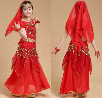 Children Belly Dance Costume Kids Indian Dance Dress Child Bollywood Dance Costumes for Girl Performance Dance Wear 6 Colors