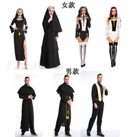 Halloween Adult Mens Priest Costume Medieval Monk Christian Missionary Costumes Robe Uniform Fancy Cosplay Clothingfor Men