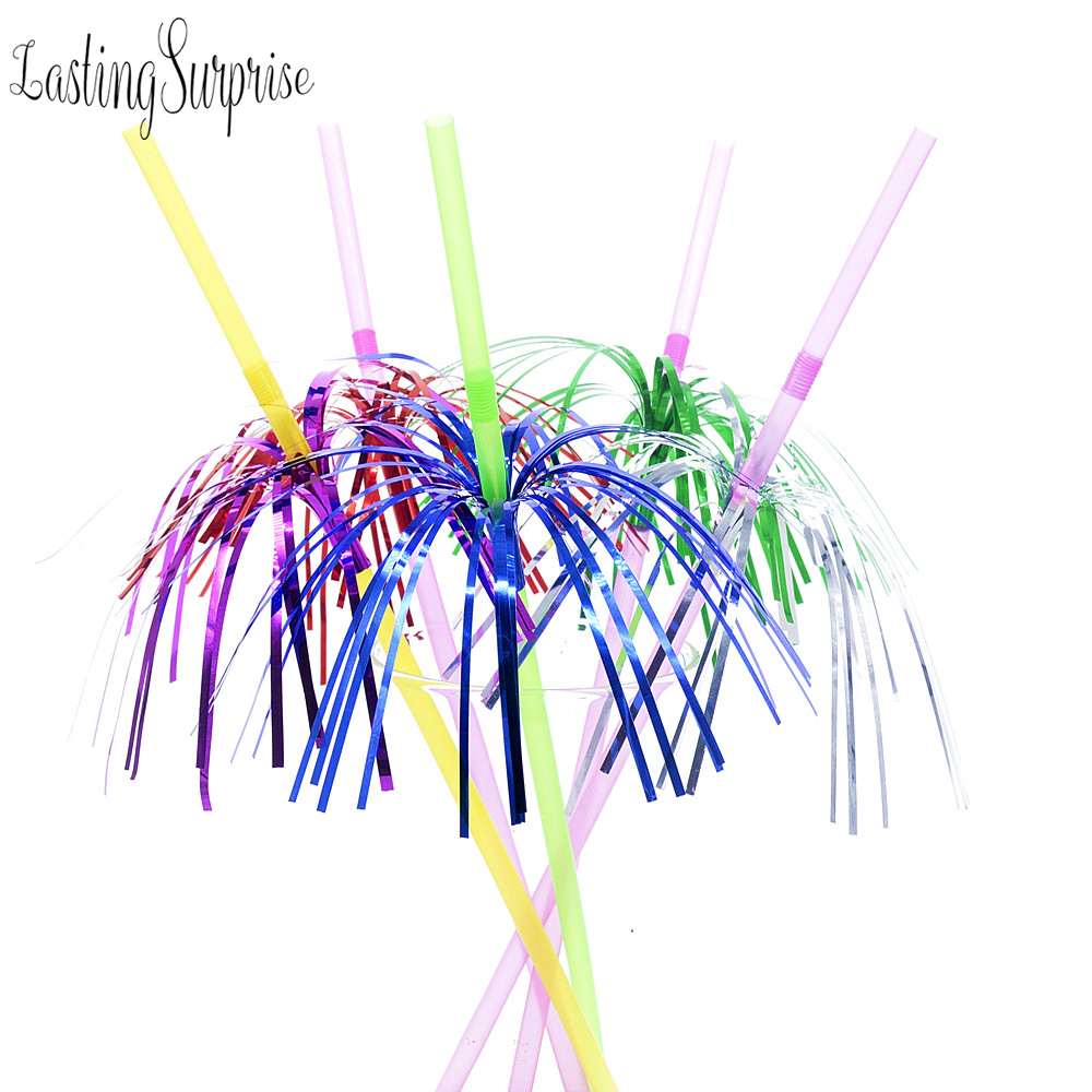 20pcs Mix Wedding Straw Firework Cocktail Straws Umbrella Drinking Hawaiian Party Decoration Kids Birthday Party Drink Straws