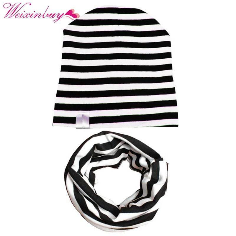 50998aff9747 2PCS sets Autumn Winter Crochet Baby Hat Girl Boy Cap Kids Beanie ...