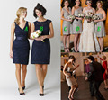 Classic Lace Short bridesmaid dress with V neck cap sleeves One shoulder Starps sweetheart Mix style wedding party gowns dresses