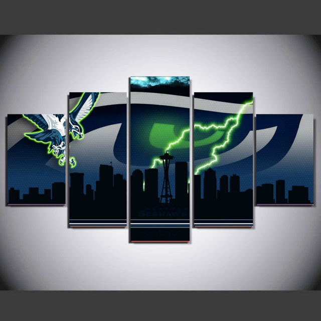 New 5 panel HD printed modular painting seattle seahawks canvas print  AG97