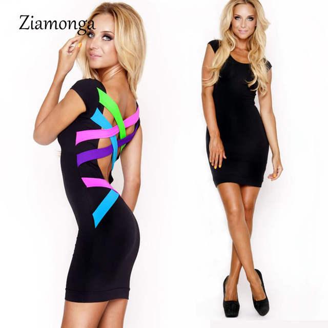 placeholder S- XL XXL Plus Size Women Clothing Sexy Black Bandage Mini  Pencil Dress Neon Strappy 418b1fca6b15