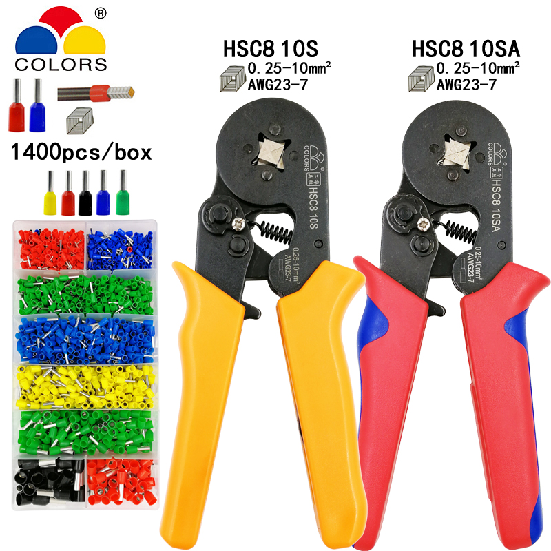 COLORS HSC8 10S 0.25-10mm2 23-7AWG Crimping Pliers 1400 Terminals For Tube Type Needle Type Terminal Crimp Self-adjusting Tool