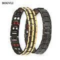 BOGVLI Luxury Fashion Health Energy Bracelet Bangle Men 316L Stainless Steel Bio Magnetic Bracelets Black & Gold Plated Jewelry