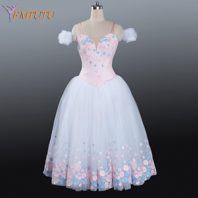 Women Pink White Professional Ballet Long TutuBallerina Fairy Adult Tutu Dress