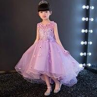 2017 Yeni Kız Çocuk Çiçekler Dekorasyon Prenses Dantel Elbise Çocuklar Mor Renk Doğum Günü Düğün Parti Elbise Kostüm Tutu Elbise