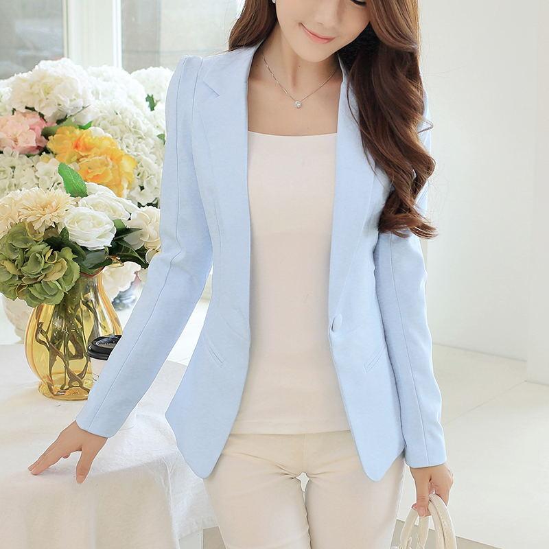 Women Blazers And Jackets Suit 2019 Spring Autumn Fashion Single Button Blaser Female White/Black/Pink/Blue Ladies Blazer Femme
