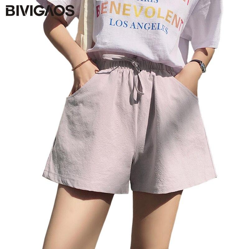 BIVIGAOS Summer Women New COTTON LINEN Wide Leg   Shorts   Korean Casual Loose   Short   Students Drawstring A-line   Shorts   Skirt Women
