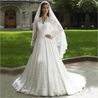 2016 Luxury Lace Appliques Sexy V Neck Long Sleeve Kate Middleton Princess A Line Wedding Dresses