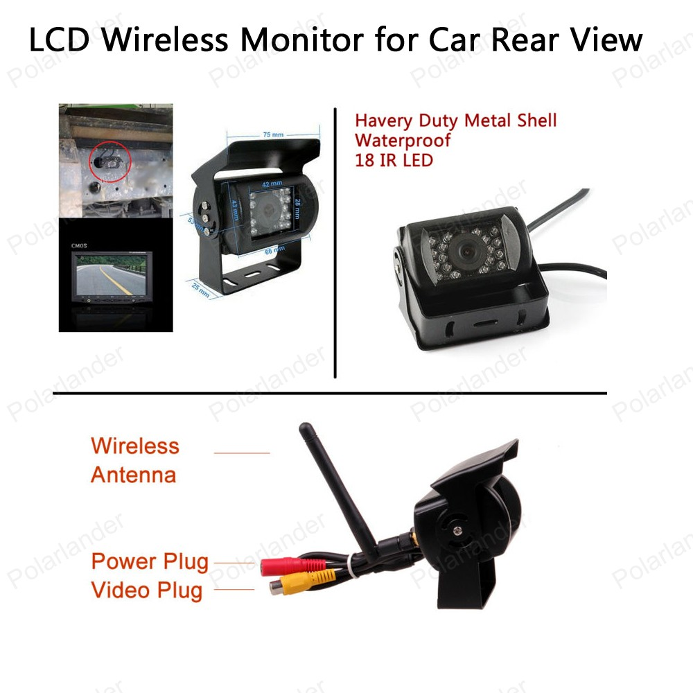 2CH Video Input Built in Transmitter 2 24V Car Truck 5 inch TFT LCD Wireless Monitor for ...