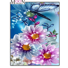 MOONCRESIN Diamond Painting Cross Stitch Butterfly Picking Flowers Square Diy Embroidery Round Mosaic Decoration