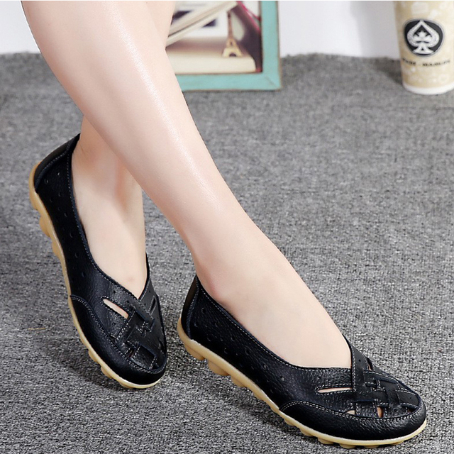 Flats For Women  Comrfort Genuine Leather Flat Shoes Woman Slipony Loafers Ballet Shoes Female Moccasins Big Size 35-44 5