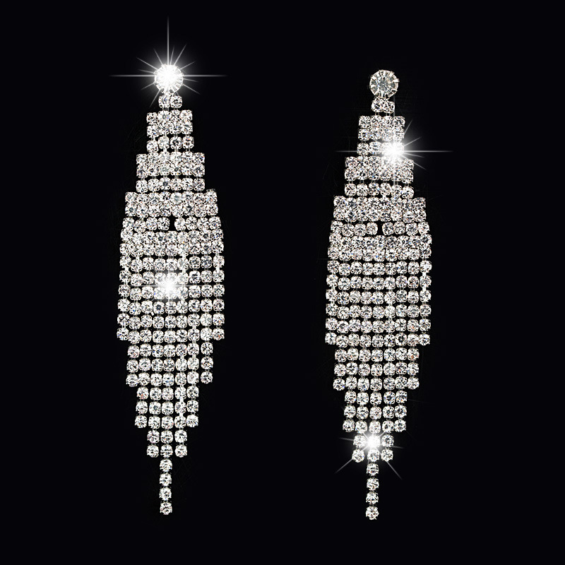 SHEVALUES Luxury Rhinestone Long Tassel Earrings Crystal Chandelier Drop Dangle Earrings Big Statement Wedding Earrings