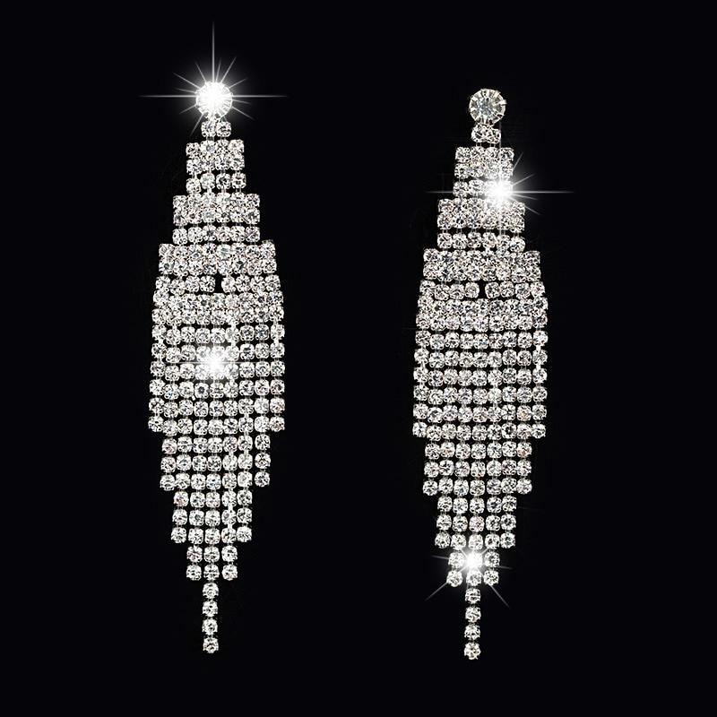 SHEVALUES Luxury Rhinestone Long Tassel Earrings Crystal Chandelier Drop Dangle Earrings Big Statement Wedding Earrings