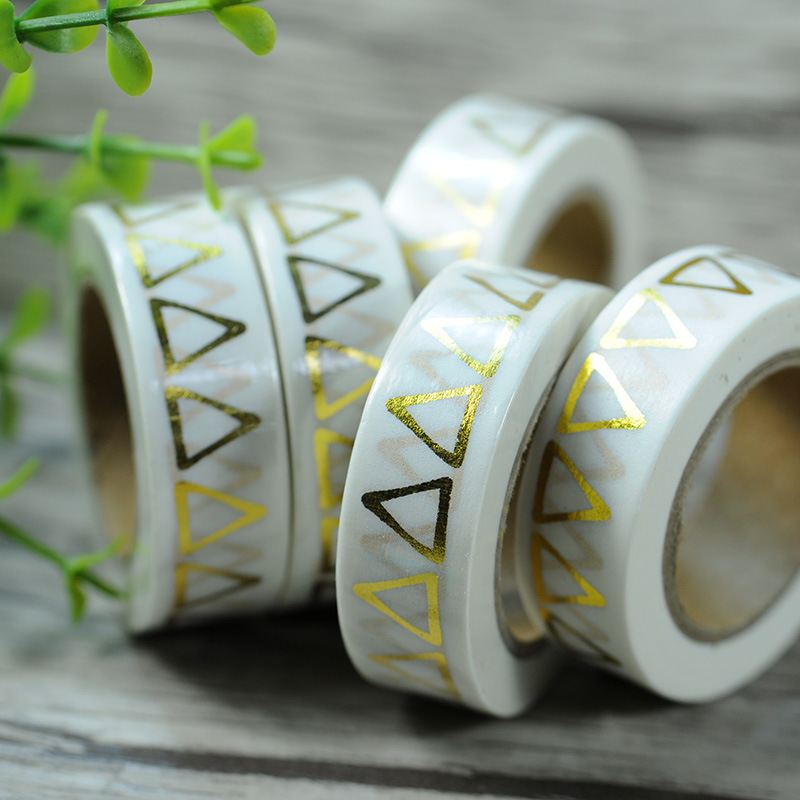 Free Shipping Halloween Golden Foil Stamping Washi Paper  Tape/golden Triangle  Washi Tape 15mm*10m