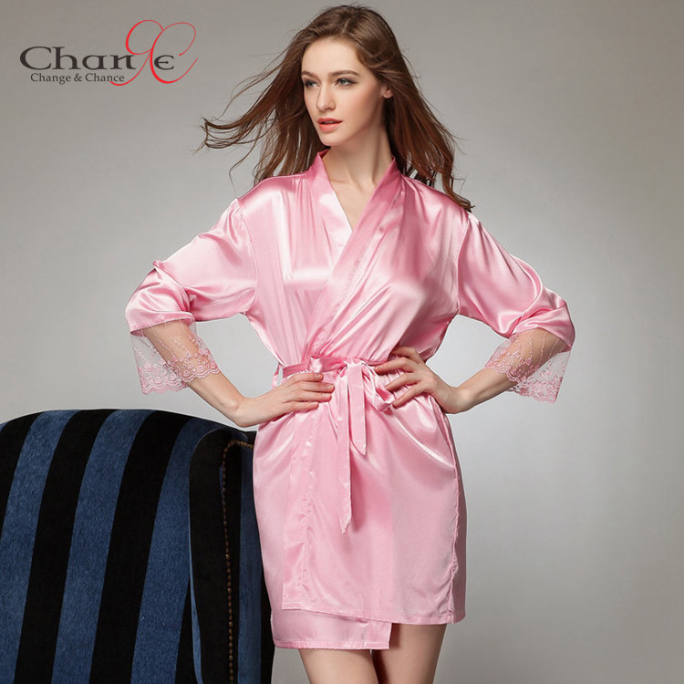 Sexy Lace Robe Romen Satin Robes for Women Pijamas Lace Long Sleeve  Dressing Gown Silk Nightgowns and Robes Pajamas for Women-in Robes from  Underwear ... 16a6516ab