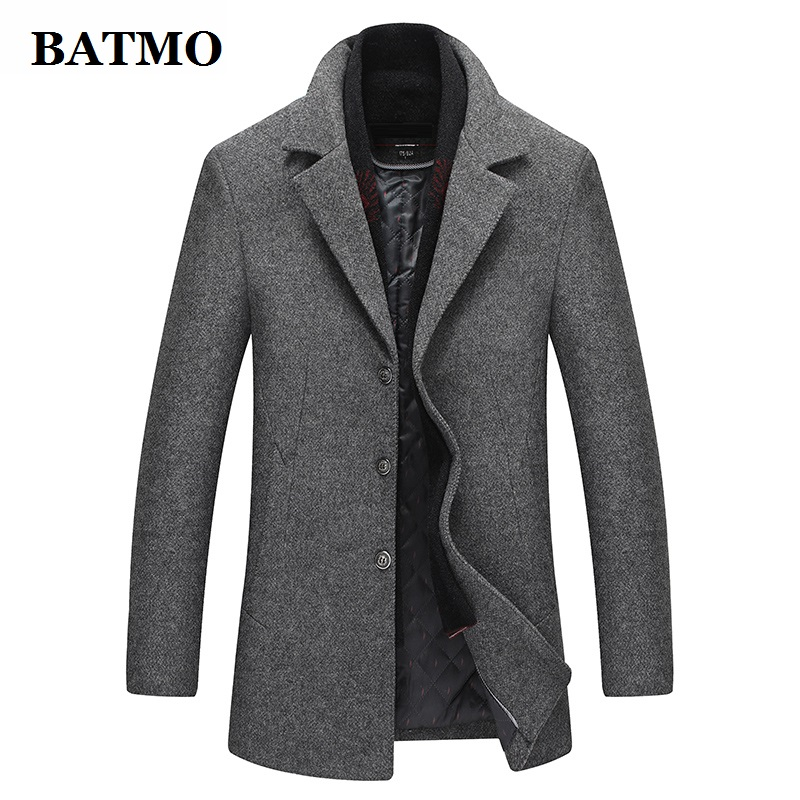 BATMO 2019 New Arrival Autumn&winter High Quality Wool Thicked Casual Trench Coat Men,men's Winter Jackets,plus-size M-XXXL,1225