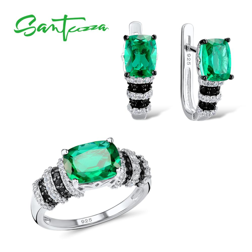 SANTUZZA Jewelry Set For Women Authentic 925 Sterling Silver Genuine Sparkling Green CZ Earrings Ring Set