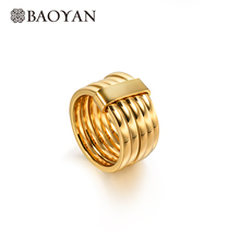 Baoyan Classic Pure Gold Color Ring Bridal Sets Round Rings For Women Metal Stainless Steel Men Ring Punk Jewellery Bijoux punk style pure color hollow out ring for women