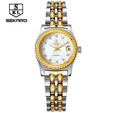 2017 Luxury Brand SEKARO Golden Watches Women automatic mechanical Watch Women Rhinestones female Waterproof Relogio Feminino