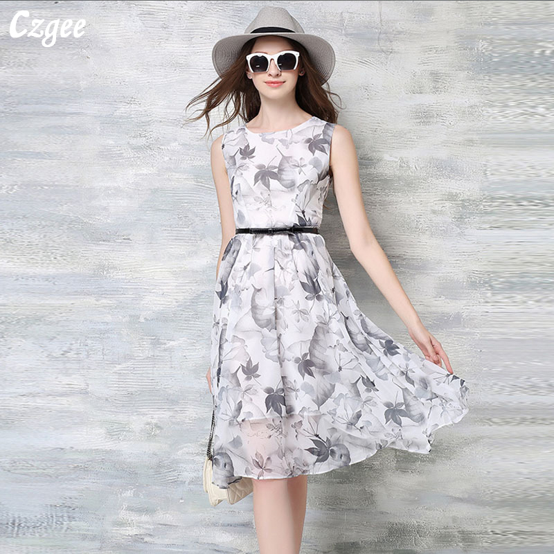 Gzgee 2018 new Summer Celebrity inspired Chinese Style Ink Printing Chiffon Belted Dresses Women Vestidos Fiesta Plus Size