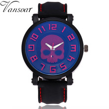 Vansvar Brand Fashion Skull Watch Casual Men Silicone Quartz Wristwatches Military Sport Clock Gift Male Relogio Masculino