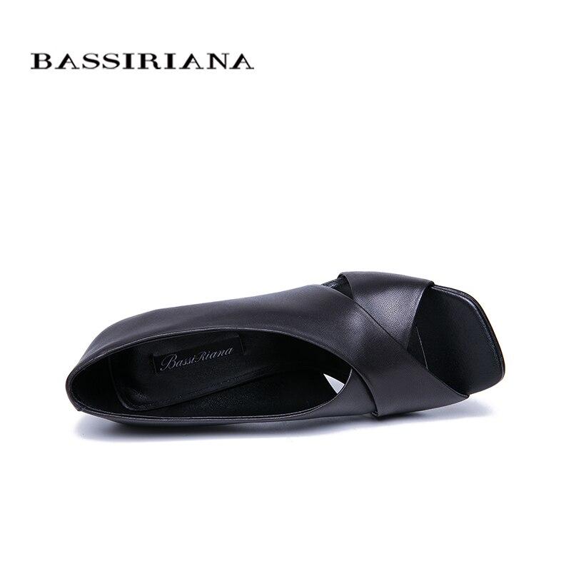 40 Black Genuino 2019 Alto Tamaño Bassiriana Zapatos Negro Natural De Cuero Verano Sandalias Las 35 Slip Tacón en Mujer Mujeres wUnEEqdHB0
