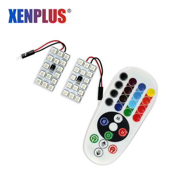 Xenplus 2 uds RGB LED T10 SMD 15 panel festón lámpara luces interiores para automóvil 5050 LED colorido Control remoto techo lectura lámpara de mapa
