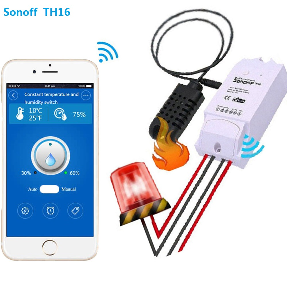 SONOFF TH16 Smart Wifi Switch Monitoring Temperature Humidity Wifi Smart Switch Home Automation Kit Works With Alexa itead sonoff th 10a 16a temperature and humidity monitoring smart home automation modules wifi smart switch wifi remote switch