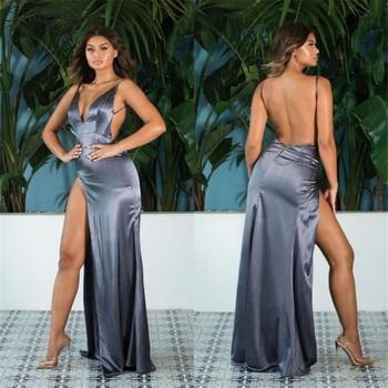 Cinderella Dark Sliver V-Neck Spaghetti Straps One Side Slit Backless Mermaid Silk Satin Prom Dresses Party Gowns For Prom