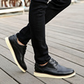 Barato Primavera Outono Elegantes Mens Oxfords Brogue Sapatos Tendência Jovem Homem Lazer Sapatos De Couro de Vaca Rendas Até Apartamentos de Couro Genuíno
