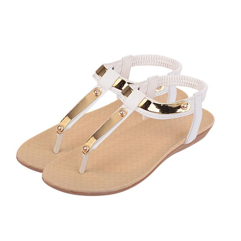 Hot Fashion Woman Shoes T-tied Metal Sequins Decoration Bling PU Leather Flip Flops Flat Sandals Back Strap Slip-On Slippers hot fashion genuine soft leather flip flops women sandals front rear strap rhionestone slip on party wedding woman shoes