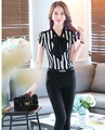 Nueva Moda de Rayas Estilo Uniforme Pantsuits 2016 Señoras Del Verano Blusas del Desgaste del Trabajo Profesional Y Pantalones Femeninos Conjuntos