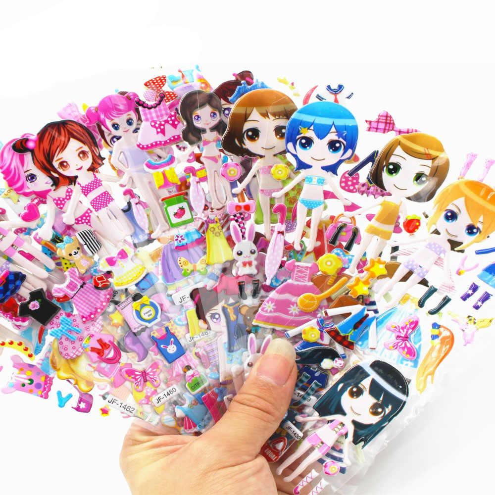 25 sayfa 3D karikatür çıkartmalar su geçirmez kabarcık PVC kendi başına yap çıkartma prenses araba kız erkek çocuk çocuk hediyeler GYH