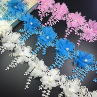 Meetee 8cm Water Soluble Embroidery Chiffon Bead Flower Lace Fabric DIY Handmade Clothes Lace Trim Wedding