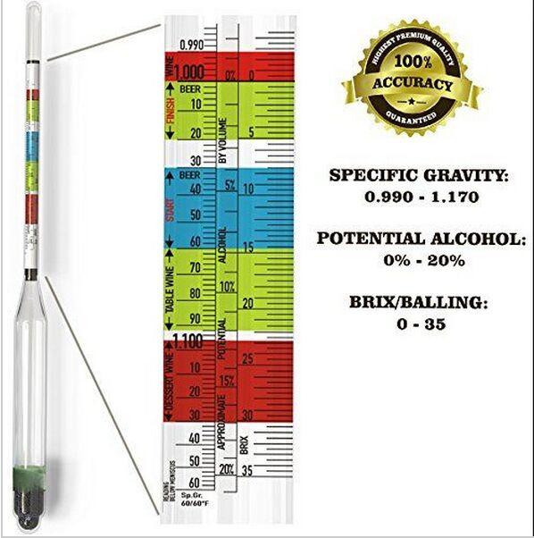 ¡Nueva llegada! 3 niveles de hidrómetro para el hogar cerveza vino sidra Alcohol prueba alta calidad