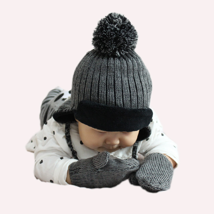 quality winter Infant baby Hat Caps Mitten Set Children's Winter Hat Warm Girls Boys Beanie Winter Warm Knit Kids Hat womail delicate unisex slouchy oversize winter warm braided beanie cap warm winter hat w7