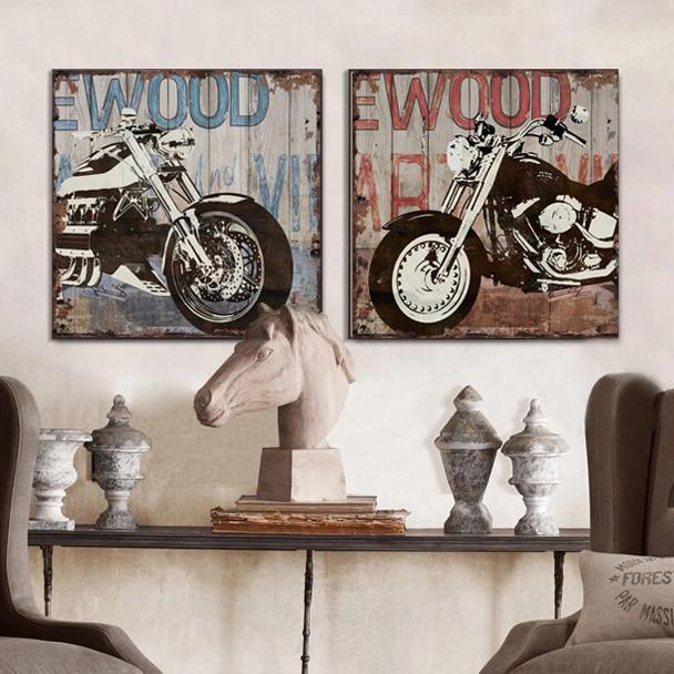 Modern Vintage Wall Decor : Aliexpress buy vintage harley motorcycle canvas wall