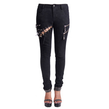 Black Steampunk Pants For Women Skeleton Printing Hollow Out Jeans With Mid Waist 2016 Gothic Personality Legging Trousers